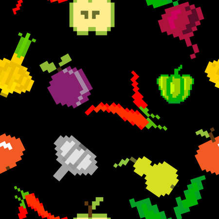healty food: seamless vector retro pixel game fruits and vegetable  pattern on black Illustration