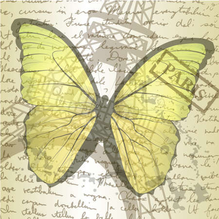 table top with sketching paper and yellow butterfly on hand-drawn writing background with  eiffel tower