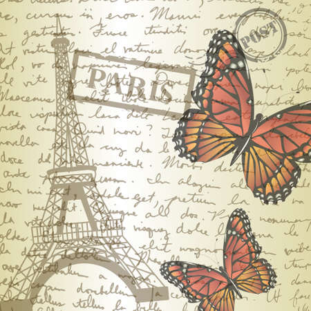 monarch butterfly: table top with sketching paper and monarch butterfly on hand-drawn writing background with  eiffel tower Illustration