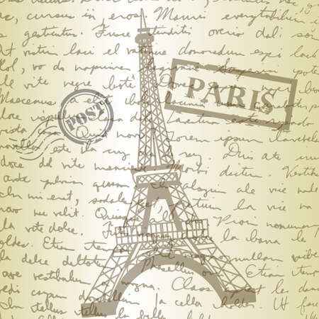 hand writing: table top with sketching paper  on hand-drawn writing background with  eiffel tower Illustration