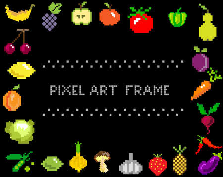 pixel-art fruit and vegetables frame on black from games
