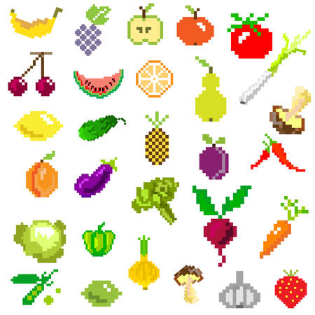 pixel art fruit and vegetables on white from games