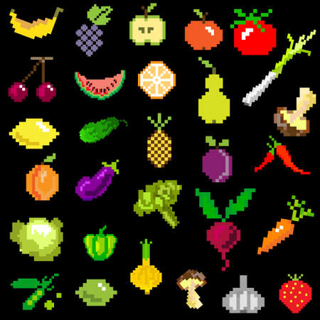 grapes and mushrooms: pixel-art fruit and vegetables on black from games