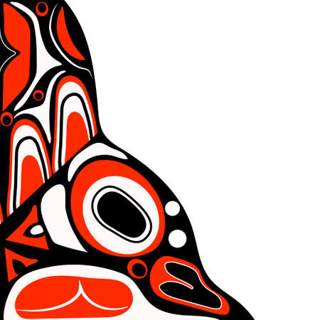 tlingit: Vector illustration abstract red background native north american on white