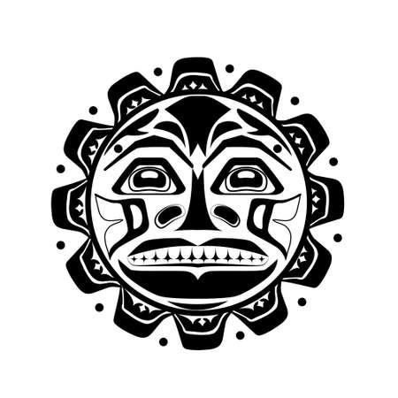 canada aboriginal: Vector illustration of the sun symbol. Modern stylization of North American and Canadian native art in black and white