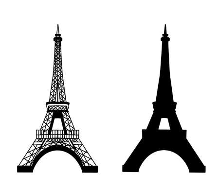 sightseeing tour: Eiffel tower isolated vector illustration, black on white set
