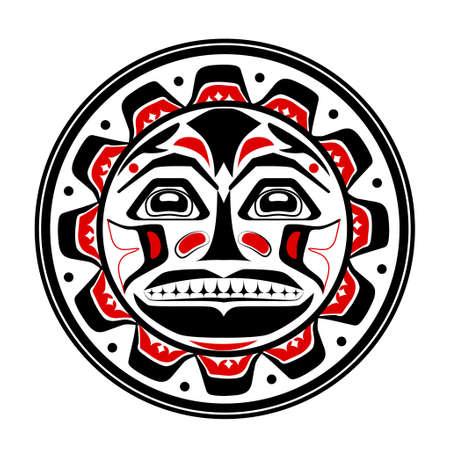 Ilustración del vector del símbolo sol. estilización moderna de América del Norte y el arte nativo de Canadá en rojo blanco y negro