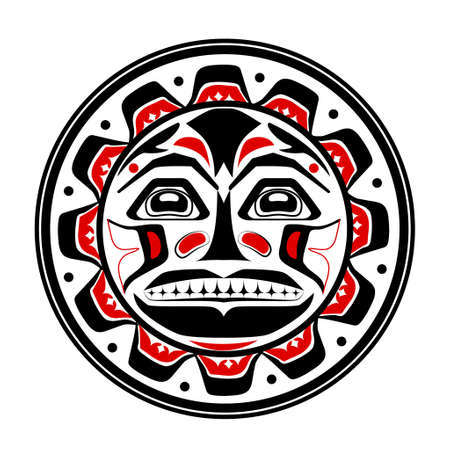 Vector illustration of the sun symbol. Modern stylization of North American and Canadian native art in black red and white