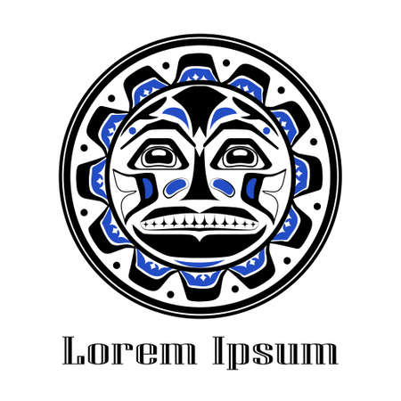 Vector illustration of the sun symbol. Modern stylization of North American and Canadian native art in black blue and white