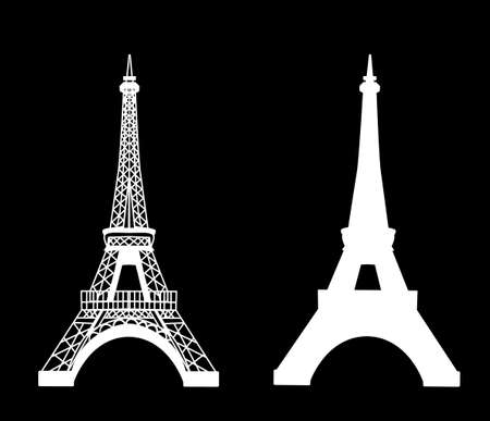 Eiffel tower isolated vector illustration, white on black set
