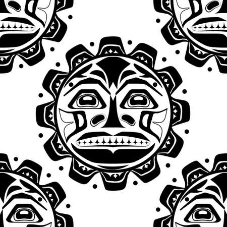Vector illustration of the sun symbol. Modern stylization of North American and Canadian native art in black and white seamless pattern