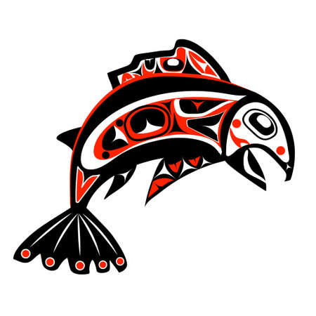 haida indian: native salmon Vector fish in red on white background