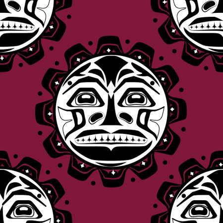 haida indian: Vector illustration of the sun symbol. Illustration