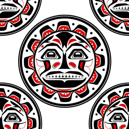 Vector illustration of the sun symbol. Modern stylization of North American and Canadian native art in black red and white seamless pattern