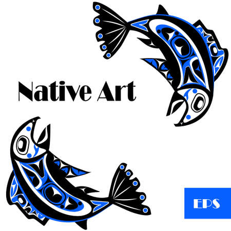 pacific northwest: native salmon Vector fish in blue on white background