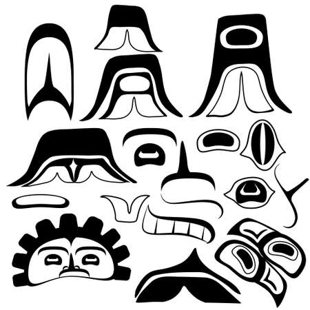 traditionally american: Tribal Indian art Elements set for your design Illustration