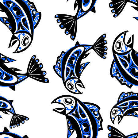 haida indian: native salmon Vector fish in blue on white background seamless pattern Illustration