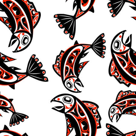 native salmon Vector fish in red on white background seamless pattern
