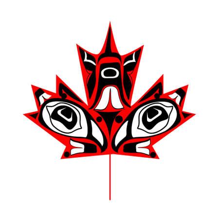 白い背景の上のネイティブ アートでカナダのメープル リーフ