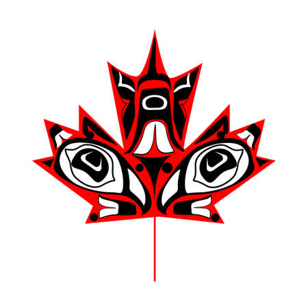 canadian maple leaf: Canadian  maple leaf in native art on white background