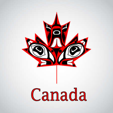 Canadian  maple leaf in native art on white background
