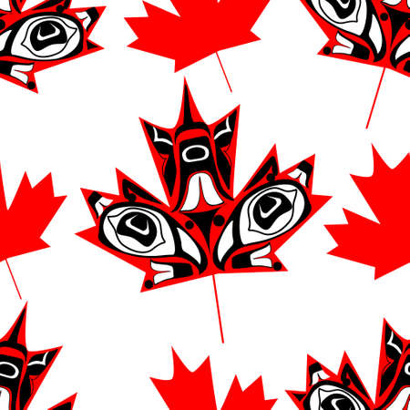 canadian flag: Canadian  maple leaf in native art on white background seamless pattern Illustration