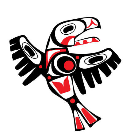 totem bird  indigenous art  stylization on white background