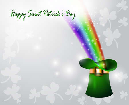 end of rainbow: St Patricks day green hat of a leprechaun with rainbow