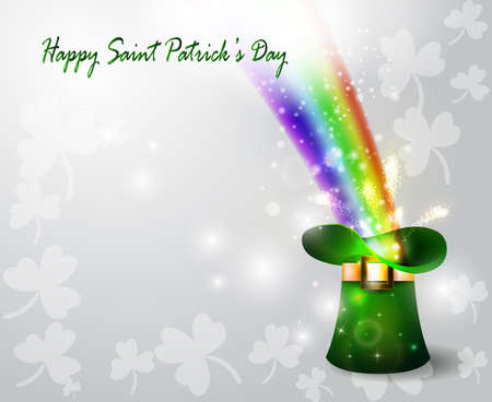 legends folklore: St Patricks day green hat of a leprechaun with rainbow