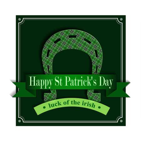 Happy St. Patricks Day Lucky Horseshoe in irish plaide pattern
