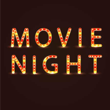 Movie night sign vector illustration neon lights