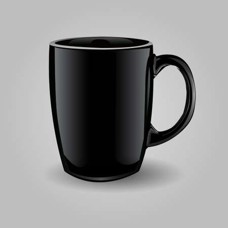 glass reflection: Template ceramic clean black mug isolated on a white background