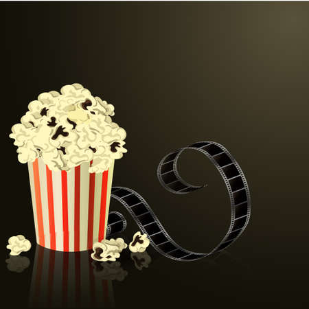 Popcorn bowl, film strip  Cinema attributes. Detailed vector illustration.