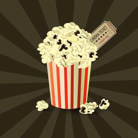 Popcorn bowl and ticket on retro background Çizim