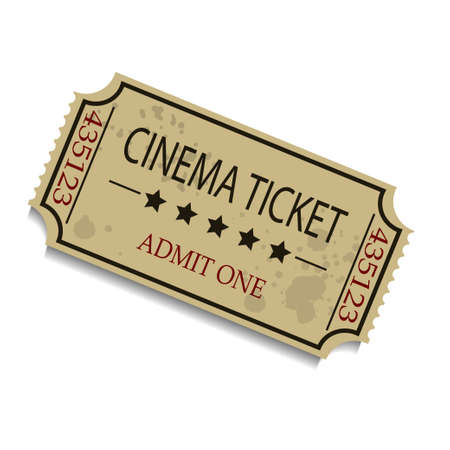 Old Vector vintage paper ticket with numbers isolated Illustration