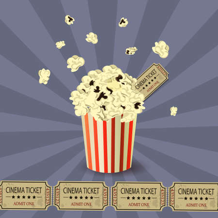 blowup: Popcorn bowl and ticket on retro background blowup