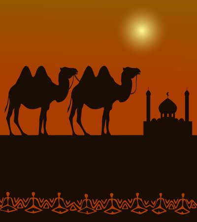 camellos silueta en el desierto con la arquitectura de Oriente Medio en la distancia