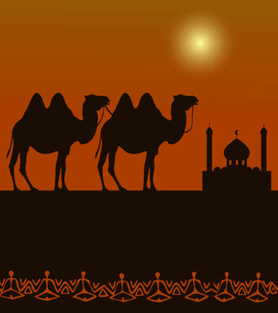 camels  silhouette on the desert with middle east architecture in the distance