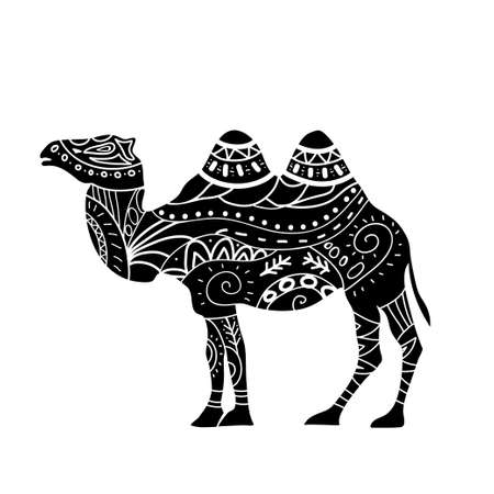 running camel: camel silhouette with tribal ornaments isolated on a white background