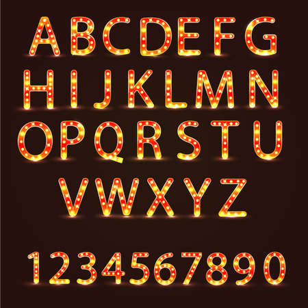 Alphabet set with realistic lamp, vector illustration. can be used for christmas, new year, birthday and more.