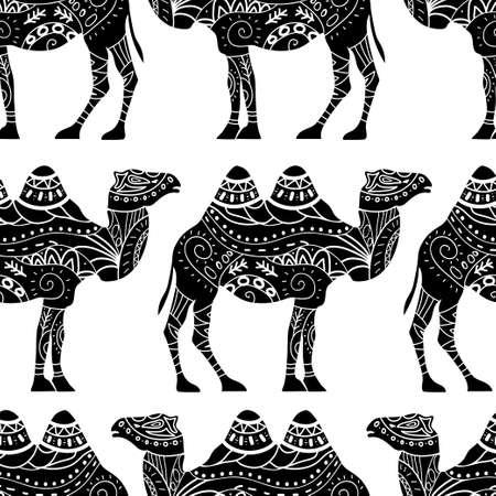 Naadloos patroon met kameelsilhouet versierd met oosterse ornamenten Stock Illustratie