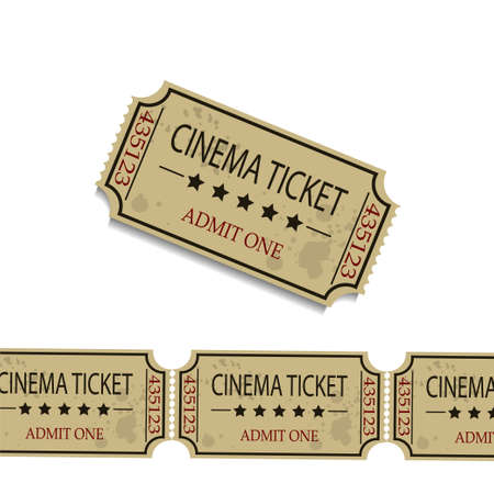 cinematograph: Old cinema tickets f vector illustration. Isolated on white background
