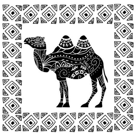 running camel: camel silhouette with tribal ornaments isolated on a white background in hand drawn ethnic frame