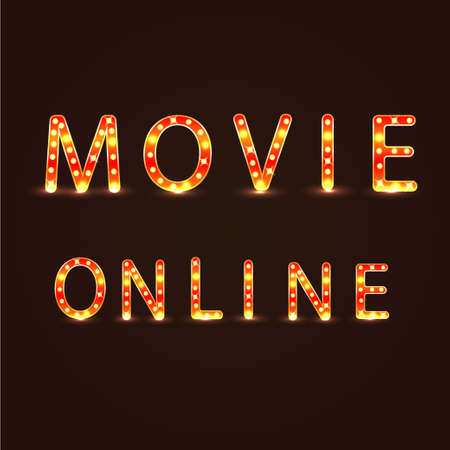 neon lights: Movie omline sign vector illustration neon lights