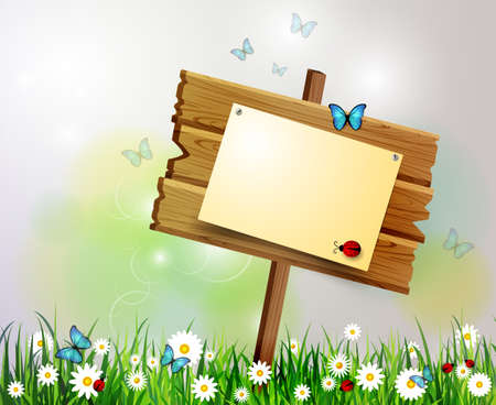 advertisement: advertisement wooden board on a loan with flowers Illustration