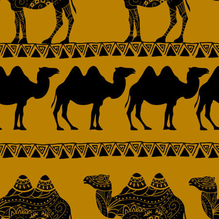 camel silhouette: Seamless pattern with camel silhouette decorated with oriental ornaments