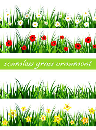 Green Grass seamless set isolated clip art vector on white