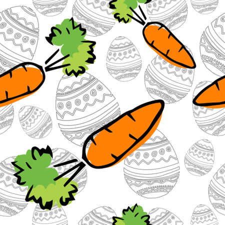 Eastern Carrot and Eggs Seamless Pattern hand drawn on white