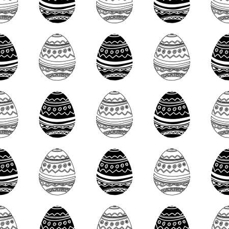 Easter eggs seamless in black and white