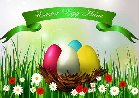 Easter egg hunt  with spring vector background